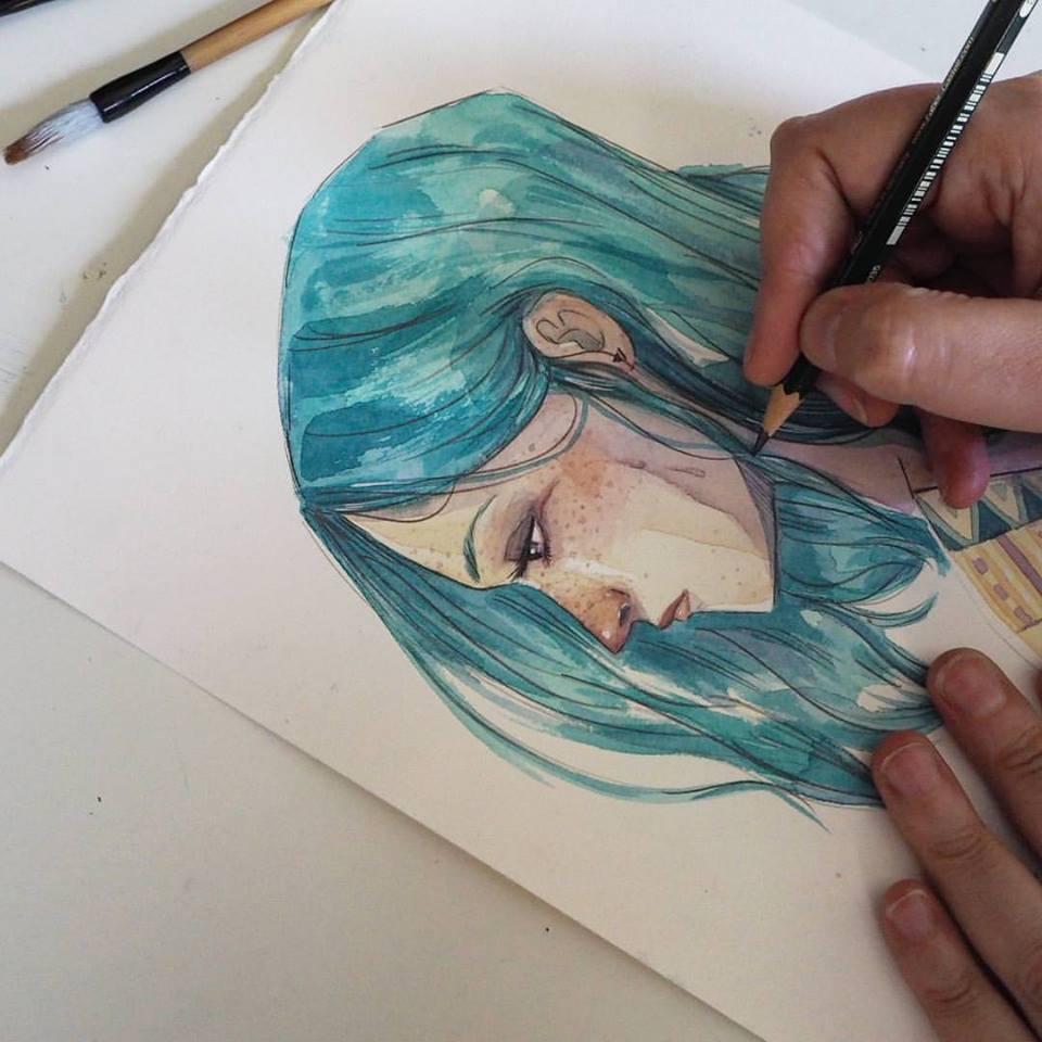 Esther Gili pintando