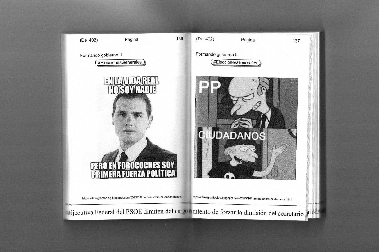 Folklore digital de Diego March. Un libro impreso burocráticamente.