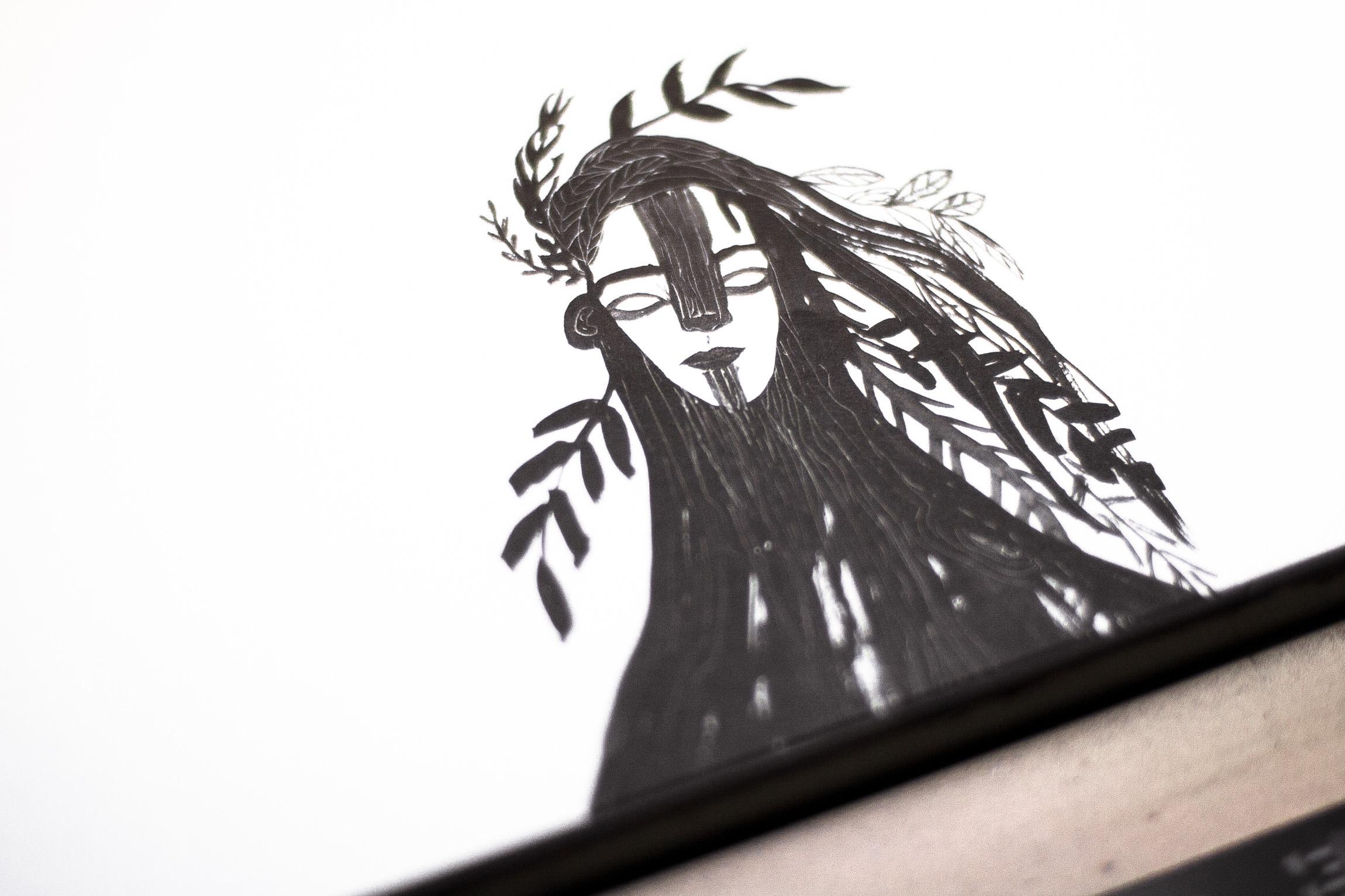 ilustración en blanco y negro con impresión offset ecológica