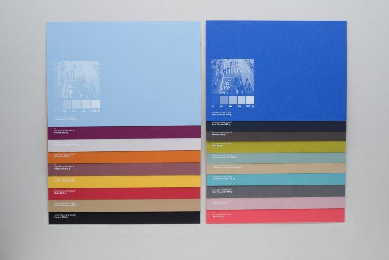 Muestra papeles de color impresum